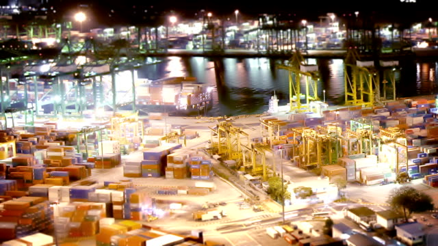 singapore docks at night - tilt shift stock videos and b-roll footage
