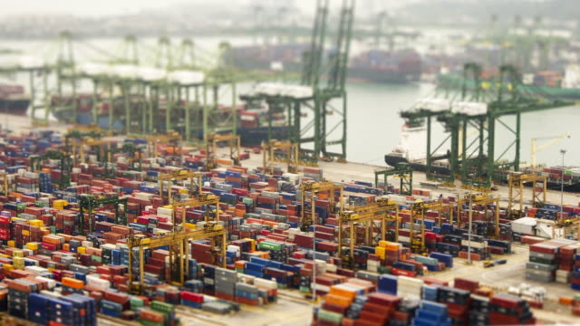 Singapore docks. HD timelapse tilt shift effect