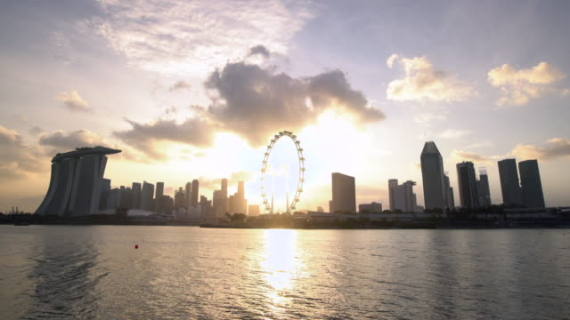 WS Singapore Flyer and cityscape at sunset