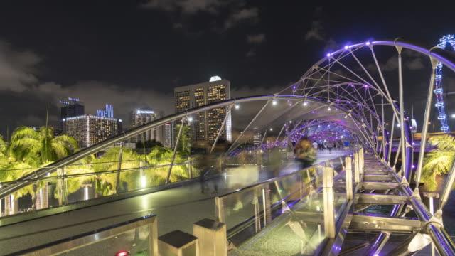 singapore helix bridge - helix bridge stock videos & royalty-free footage