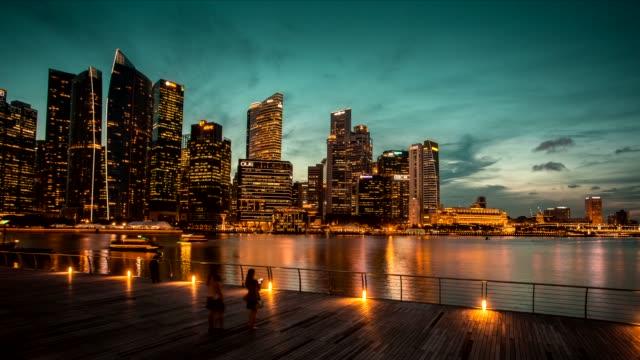 singapore marina bay district time lapse. - promenade stock videos & royalty-free footage