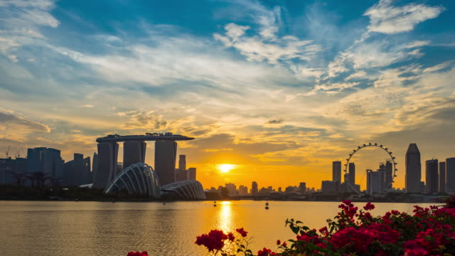 singapore panorama at sunet - singapore stock videos & royalty-free footage