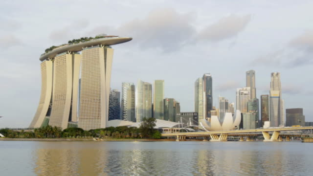zi tl w  singapore skyline and marina bay - marina bay sands stock videos and b-roll footage