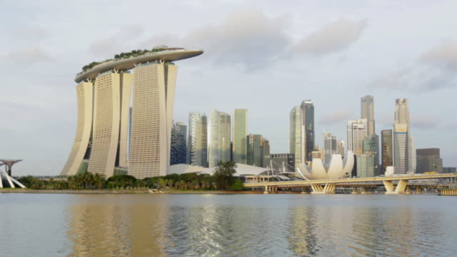 tl w  singapore skyline and marina bay  - marina bay sands stock videos and b-roll footage