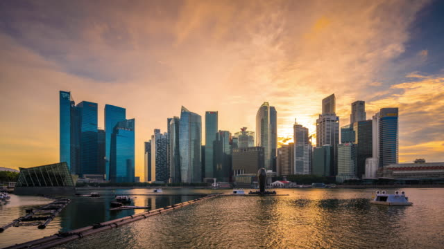 T/L WS Singapore Skyline at Sunset / Singpaore