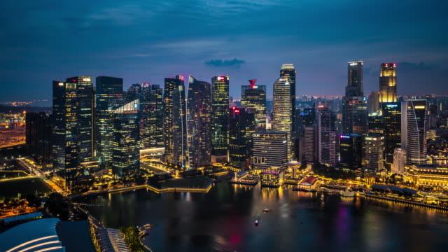 T/L WS HA ZO Singapore Skyline Dusk to Night Transition / Singapore