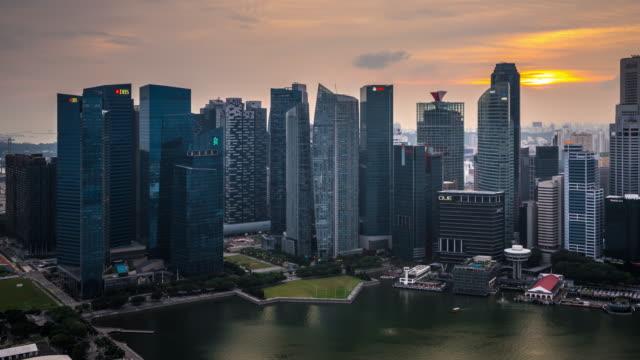 T/L WS HA PAN Singapore Skyline Dusk to Night Transition / Singapore