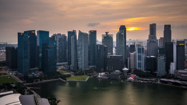 T/L WS HA ZI Singapore Skyline Dusk to Night Transition / Singapore