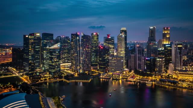 T/L WS HA Singapore Skyline Dusk to Night Transition / Singapore