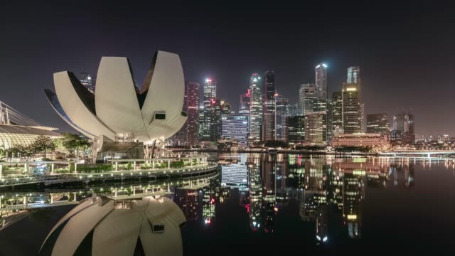 singapore skyline showing marina bay and the financial district at dawn - singapore stock videos & royalty-free footage
