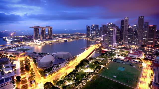 singapore skyline timelapse - marina bay singapore stock videos and b-roll footage