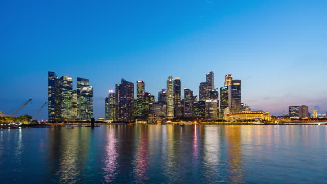 singapore skyline with modern structure, day to night time lapse video - singapore river stock videos & royalty-free footage