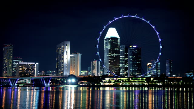 singapore skyline with wheel - singapore flyer stock videos and b-roll footage