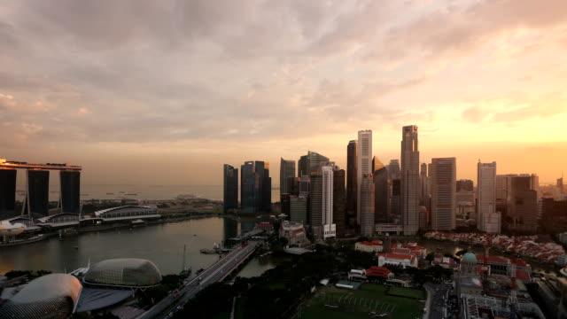 Singapore Panorama al tramonto, crepuscolo
