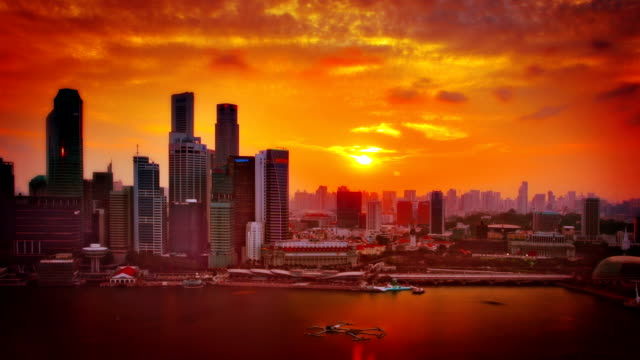 singapur sonnenuntergang. - high dynamic range imaging stock-videos und b-roll-filmmaterial