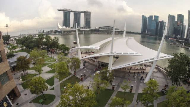 singapore, the esplanade theatres on the bay - pavilion stock videos & royalty-free footage