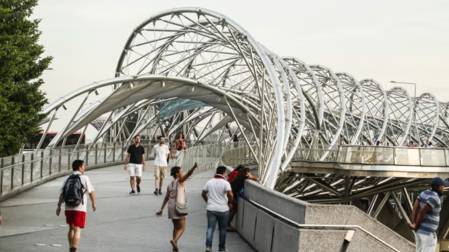 singapore, the helix bridge - pedestrian stock videos & royalty-free footage