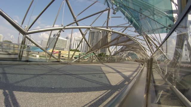 singapore, the helix bridge - helix bridge stock videos & royalty-free footage