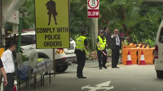 stockvideo's en b-roll-footage met singapore tightens security around the capella resort the venue for the historic summit between kim jong un and donald trump aimed at addressing the... - a capella