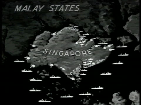 vidéos et rushes de singapore w/ icons of coastal defenses & ships. - 1942