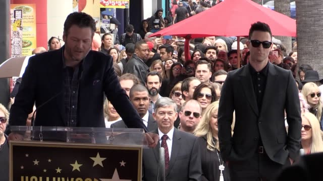 """singer adam levine said he was """"one of the luckiest people who's ever lived"""" as he was presented with a star on the hollywood walk of fame. the... - gwen stefani stock videos & royalty-free footage"""
