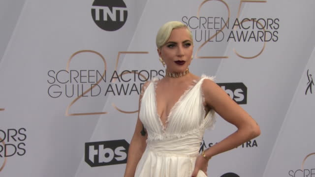 singer and actress lady gaga on the red carpet at the sag awards on january 27, 2019 in los angeles, california. - music or celebrities or fashion or film industry or film premiere or youth culture or novelty item or vacations stock videos & royalty-free footage