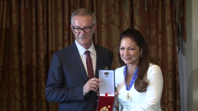 Singer Gloria Estefan accompanied by her husband Emilio Estefan receives the Gold Medal of Merit in the Fine Arts from Spanish Minister of Culture...