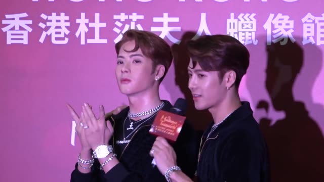 singer jackson wang attends his wax figure unveiling ceremony at madame tussauds on july 29 2019 in hong kong china - madame tussauds stock videos & royalty-free footage