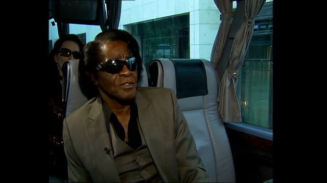 singer james brown interview; england: london: int tour bus james brown interview sot - enjoyed shopping in london for my wife who's also one of my... - reflection stock videos & royalty-free footage