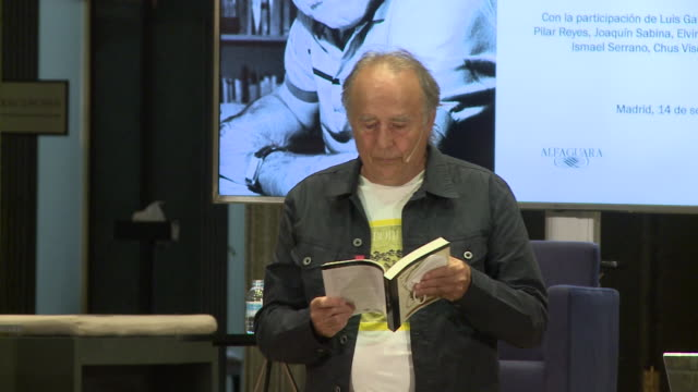 singer joan manuel serrat reads a poem during tribute to mario benedetti event in instituto cervantes - tribute event stock videos & royalty-free footage