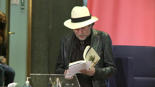singer joaquin sabina reads a poem during tribute to mario benedetti event in instituto cervantes - tribute event stock videos & royalty-free footage