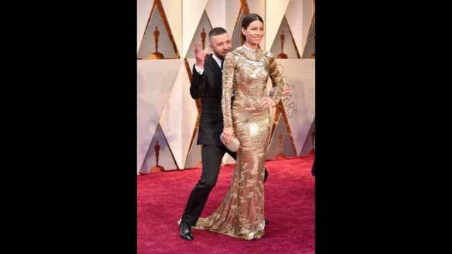 singer justin timberlake and actor jessica biel attend the 89th annual academy awards at hollywood highland center on february 26 2017 in hollywood... - justin timberlake stock-videos und b-roll-filmmaterial