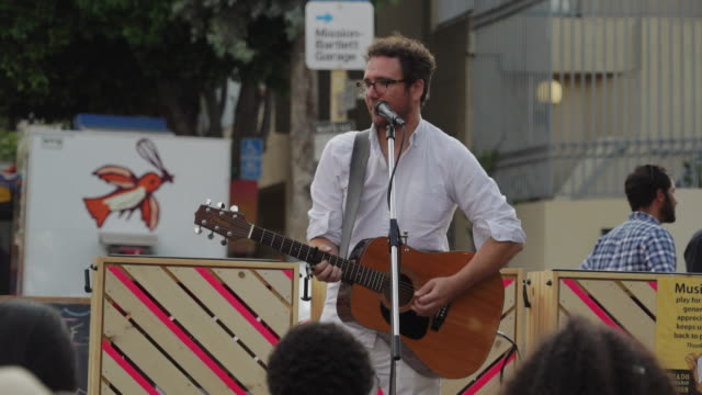 singer performs on street - san francisco, usa - performer stock videos & royalty-free footage