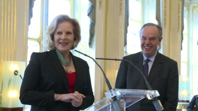 stockvideo's en b-roll-footage met singer sylvie vartan was on wednesday awarded the french order of arts and letters by culture minister frederic mitterrand paris france - arts culture and entertainment