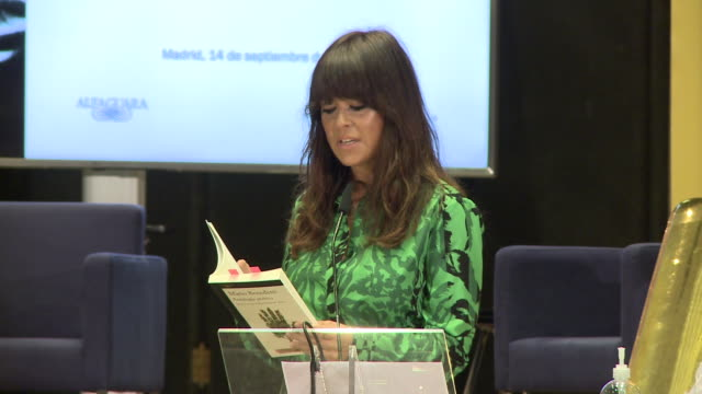 singer vanesa martin reads a poem during tribute to mario benedetti event in instituto cervantes - tribute event stock videos & royalty-free footage