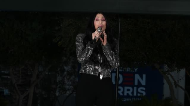 """singer/actress cher performs the song """"walking in memphis"""" as she campaigns for joe biden and kamala harris at an early vote rally at a residential... - cher performer stock videos & royalty-free footage"""