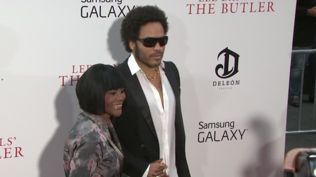singer-songwriter and actor lenny kravitz with guest attend lee daniels' 'the butler' new york premiere at ziegfeld theater on august 5, 2013 in new... - シンガーソングライター点の映像素材/bロール
