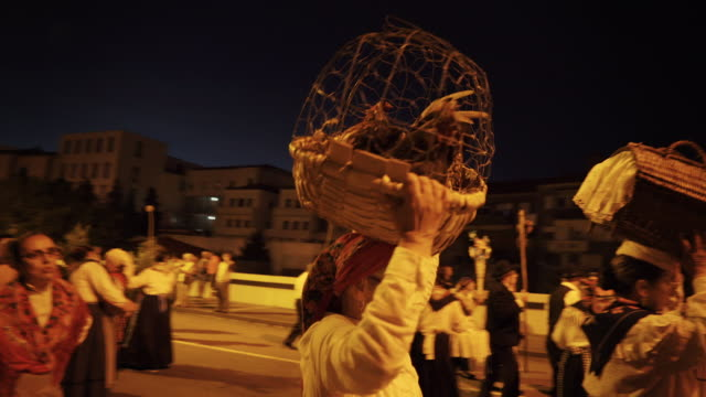singing and dancing at nighttime traditional festival - portugal - korb stock-videos und b-roll-filmmaterial