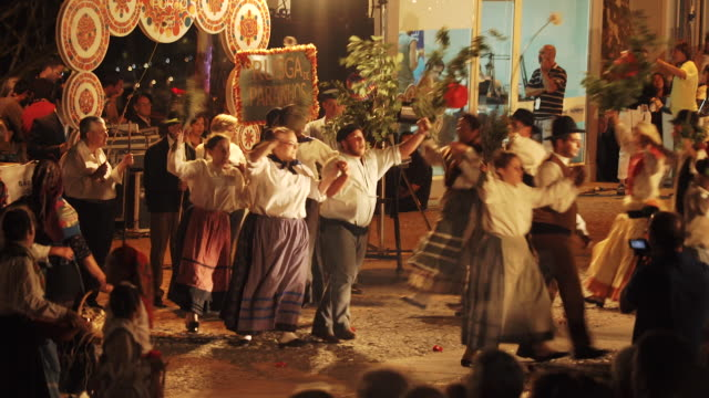 singing and dancing at nighttime traditional festival - portugal - portuguese culture stock videos & royalty-free footage