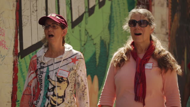 singing and walking women near street art (graffiti) in clarion alley, san francisco, usa - cult stock videos & royalty-free footage
