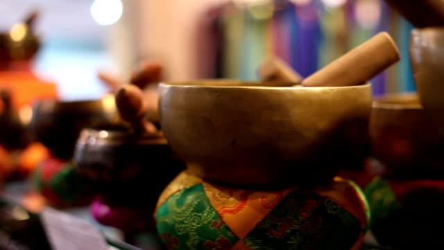 singing bowl selection - traditionally tibetan stock videos & royalty-free footage