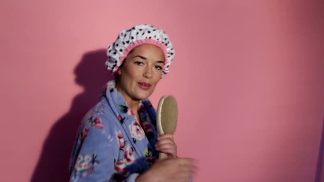 Singing into Hairbrush