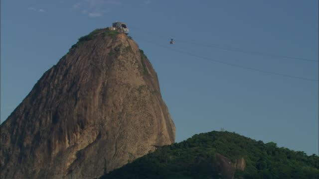 la ws single cable car moving down from sugarloaf mountain/ rio de janeiro, brazil - naturligt landmärke bildbanksvideor och videomaterial från bakom kulisserna