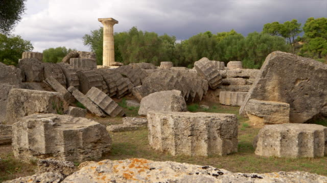 single column from the temple of zeus in olympia, greece, slow motion - zeus stock videos and b-roll footage