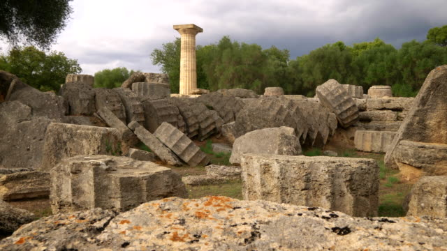 single column from the temple of zeus in olympia, greece. - zeus stock videos and b-roll footage