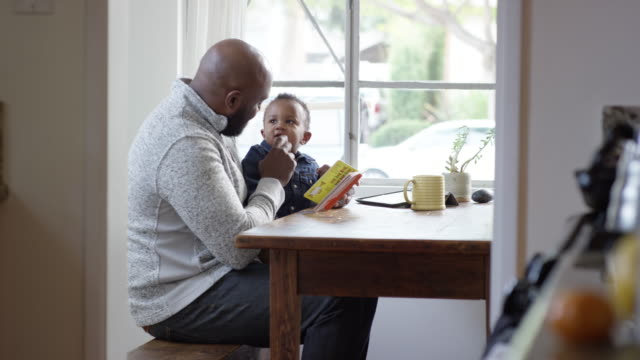 single dad reading a book, playing, and feeding his 2 years old son - 2 3 years stock videos & royalty-free footage