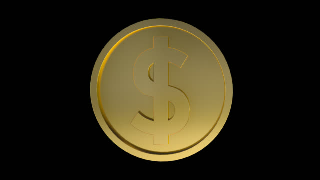 single dollar sign coin rotating loopable animation. gold dollar coin loopable - coin stock videos & royalty-free footage