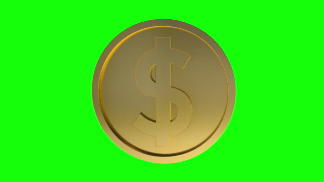 single dollar sign coin rotating loopable animation. gold dollar coin loopable green screen - spinning stock videos & royalty-free footage