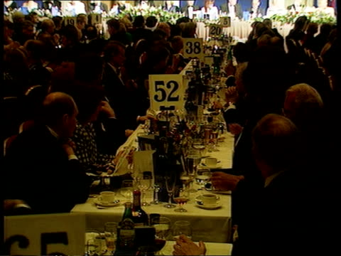 tory party still split itn scotland glasgow hilton cms john major pm speech to cons party members tms party members seated at tables livingston ms... - ノーマ メジャー点の映像素材/bロール