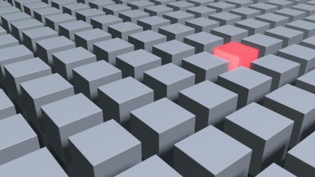 Cubo rojo brillante simple con medio de Gray Cubes metálico
